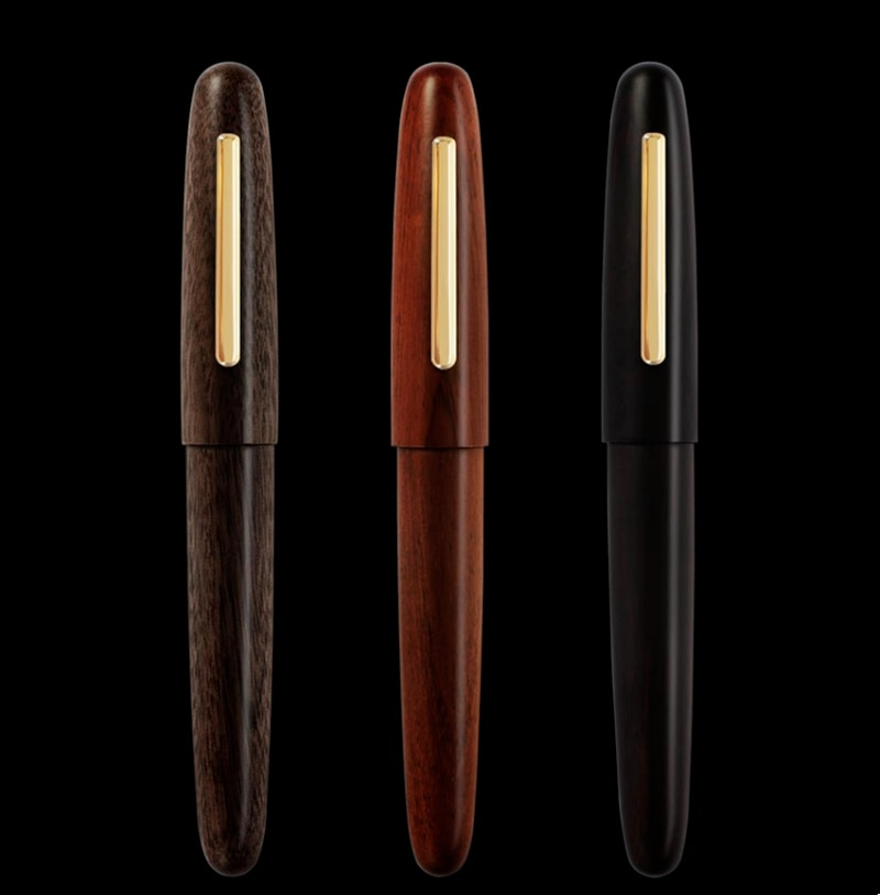 New Jinhao Rosewood Fountain Pen Gift Box Set Full Gold Clip Medium Nib Ink Pen Office Exquisite Writing Pen Business Gift