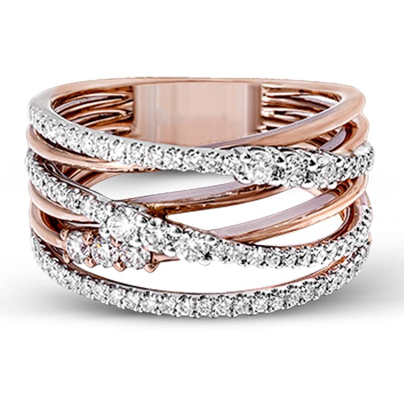 Huitan, cordel cruzado de Color rosa dorado, anillo para mujer, piedra de corte redondo Micro pavimentada de novia casamiento compromiso, anillo llamativo para fiesta