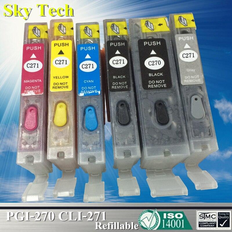 [Com arco] cartucho de tinta recarregável para pgi270 cli271, para canon pixma mg5720/mg6820/mg7720/ts5020/ts6020/ts8020/ts9020