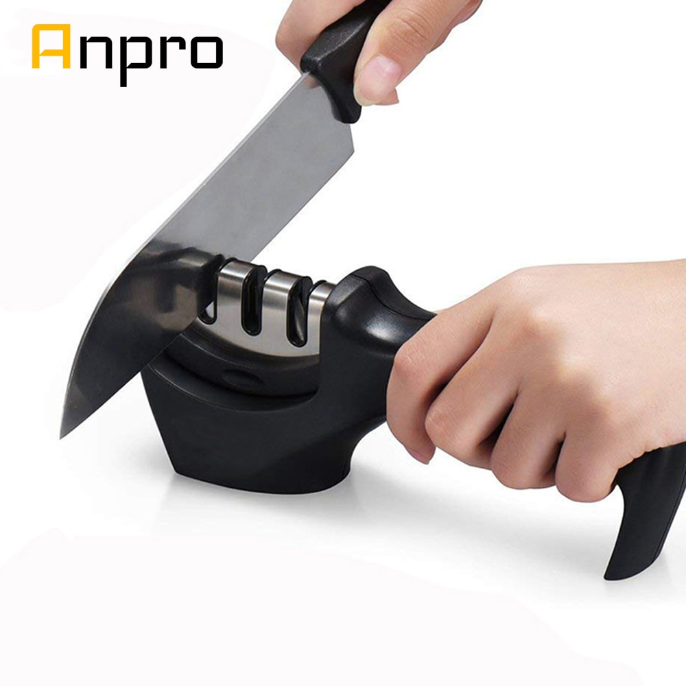 Anpro 1PC 3 שלבים מקצועי סכין מטבח מחדד חידוד אבן פלדת טונגסטן קרמיקה סכיני מטבח אבזרים