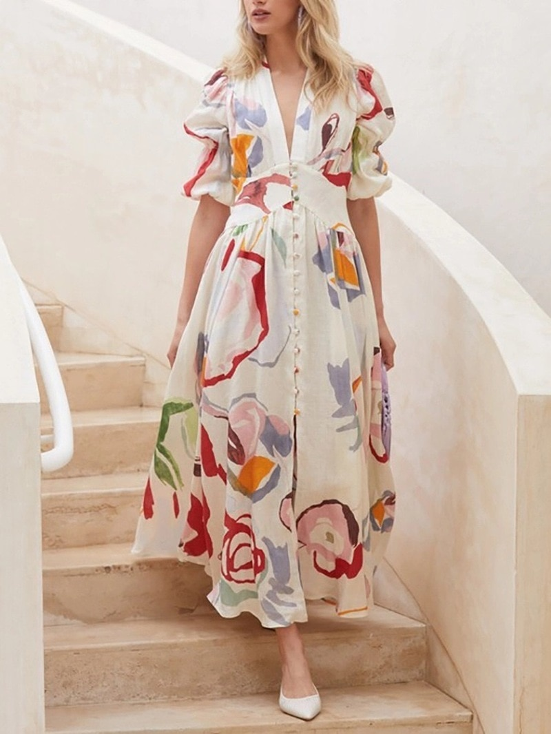 New Maternity Clothes In Europe and The United States New Slim and Large Chiffon Print Long Skirt Beach Ladies Dress PW18