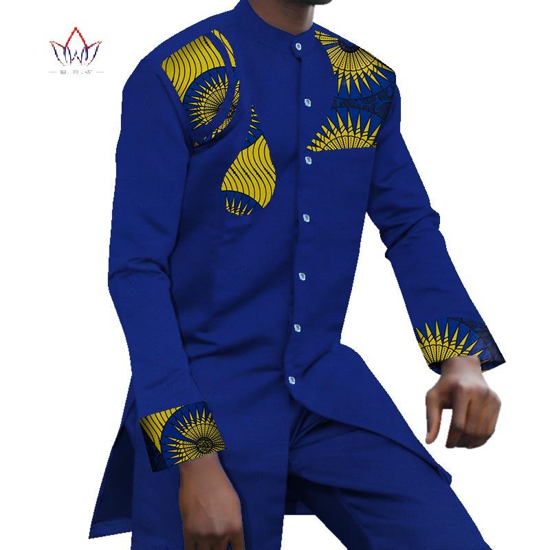 Bazin riche 2 peças conjuntos de calças dos homens africano roupas casuais jacquard padrão retalhos topo camisa e calças define wyn771