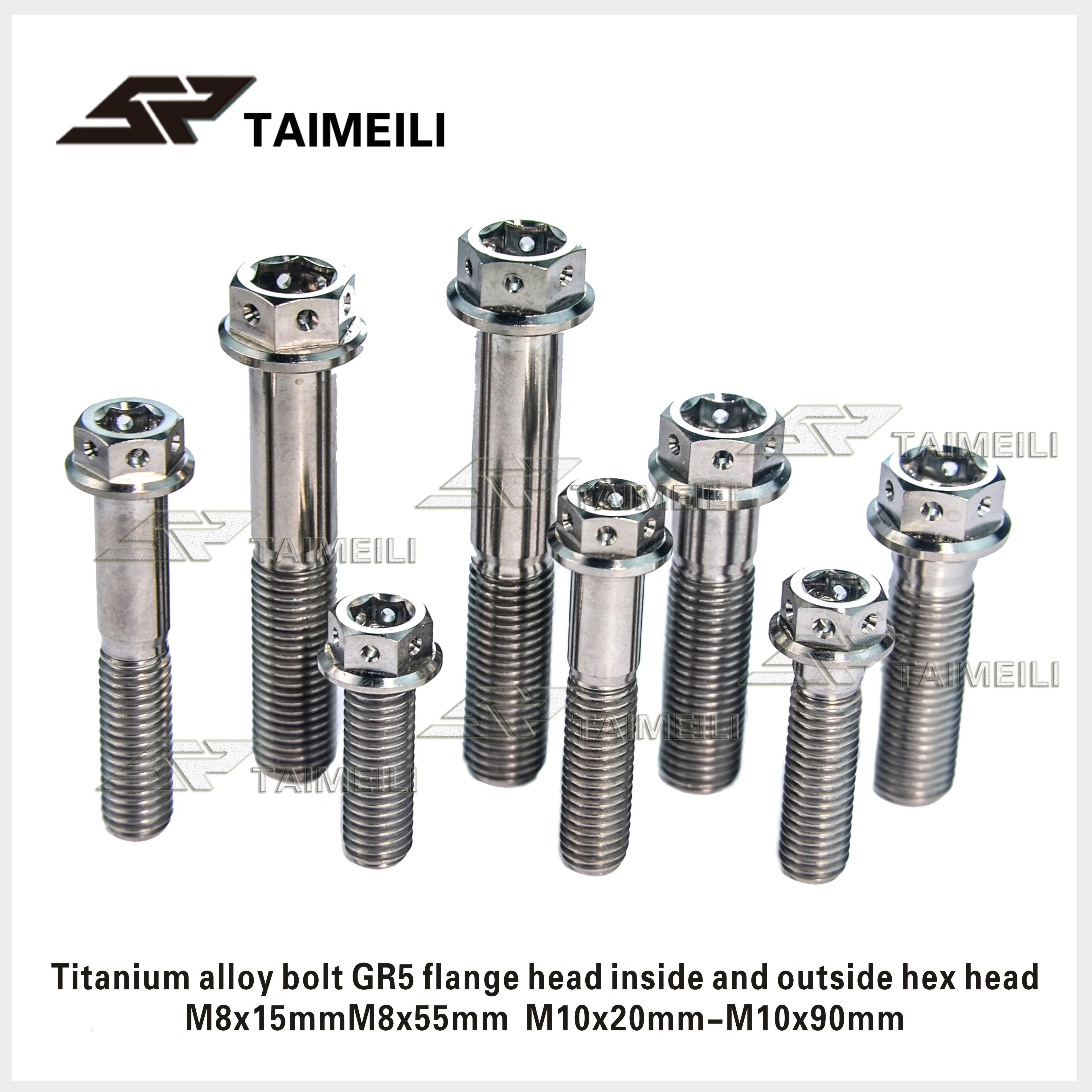Titanyum cıvata GR5 flanş başlığı iç ve dış altıgen başlı M8 M10x20-90mm motosiklet refitted cıvata onarım yedek scre