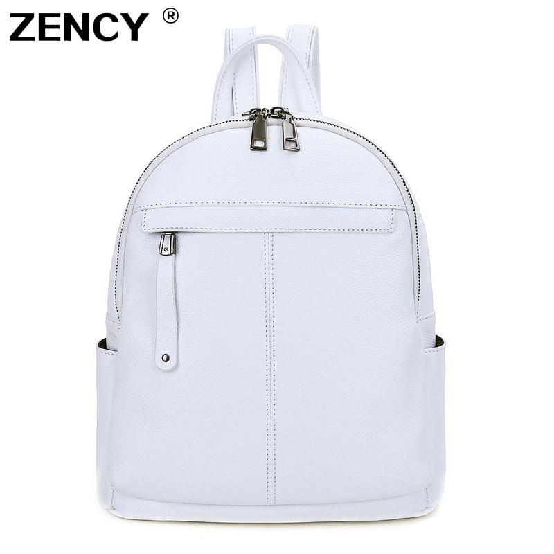 Zcy-حقيبة ظهر من جلد البقر للنساء ، حقيبة مدرسية ناعمة ذات 9 ألوان مختلفة للنساء والفتيات