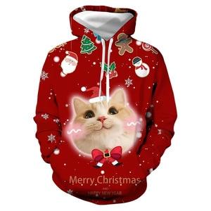 Unisex Christmas Trees Cats 3D Digital Print Loose Hooded Sweater Pullover Women Men Xmas New Year Baseball Sweatshirt Hoodie