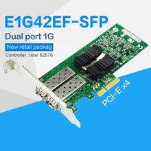 FANMI E1G42EF-SFP ثنائي المنفذ SFP PCI-E X4 محول خادم الألياف ناقل إنتل 82576 المراقب المالي