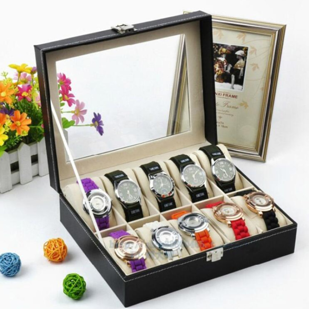 10 Slots Retro PU Watch Box Case Organizer Display for Men Women, Brilliant PU Box with Soft Leather