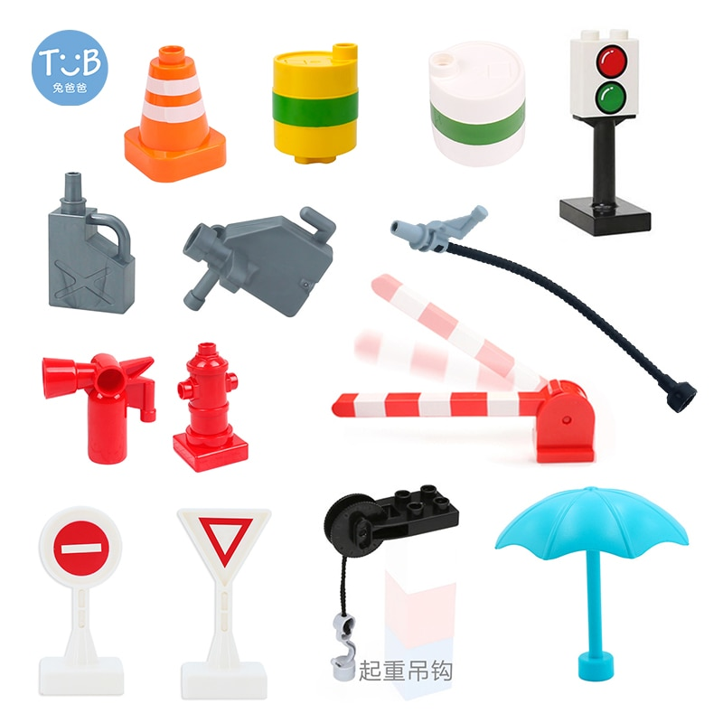 Big Building Blocks Accessories Train Track Traffic Signs Roadblock traffic light parking pole Compa