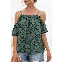 summer fashion t shirt polka dot cold shoulder short sleeve women tops 2021 girls spaghetti straptshirt am3044