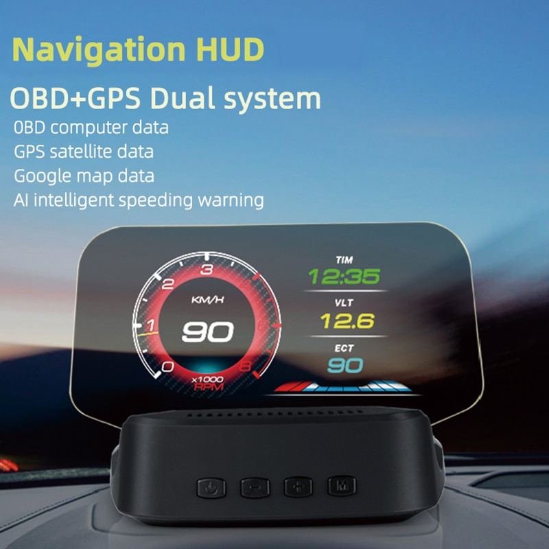 HUD+OBD HD Car Head up Display with GPS Navigation Bluetooth Windshield Speed Projector Security Alarm autool x50 pro obdii hud obd head up display car speed meter scanner multi function automobile speedometer with fault diagnosis