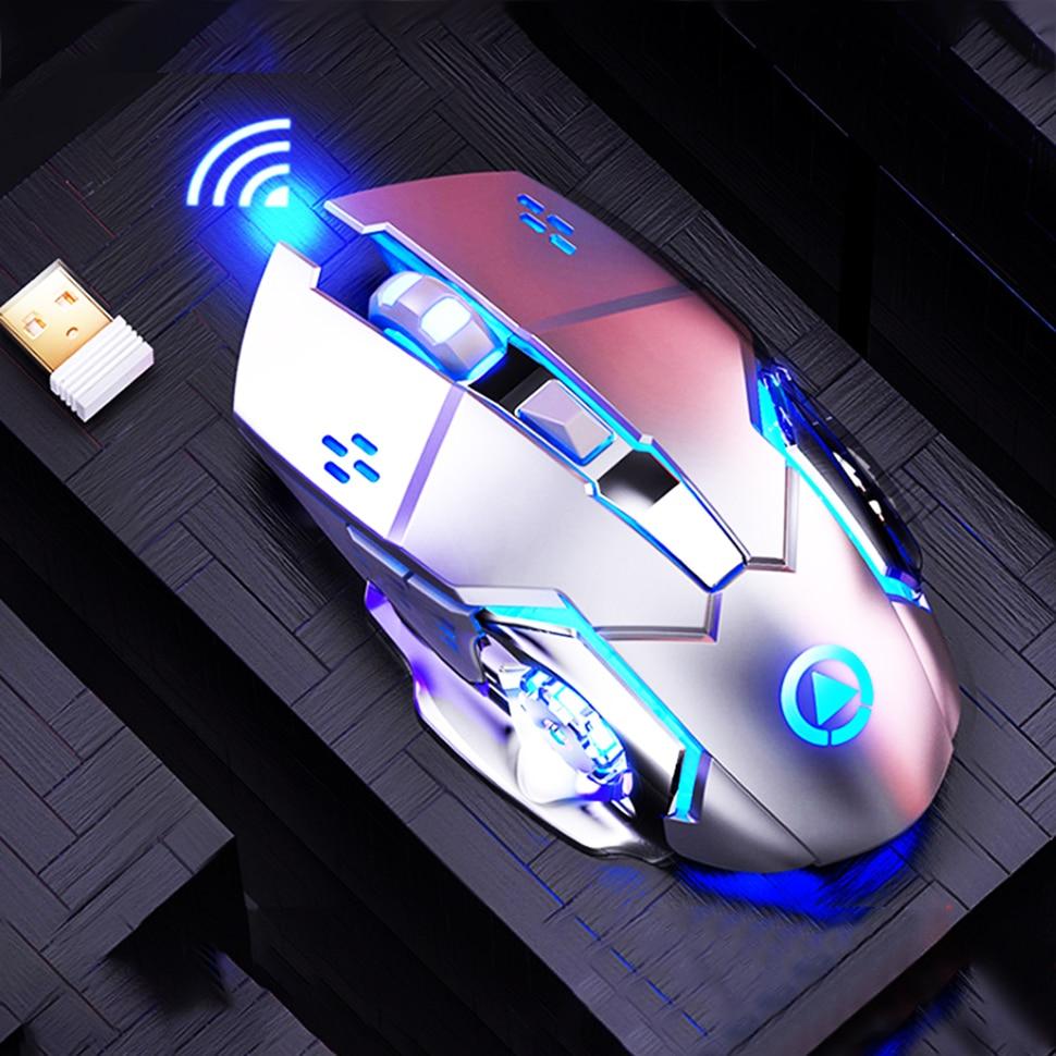 Ratón inalámbrico para juegos, 1600 DPI, recargable, ajustable, para Gamer, silencioso, ratón USB con retroiluminación, ratón para juegos, ratón para PC y ordenador portátil