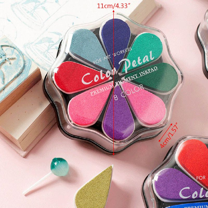 Cute 8Colors Water Drop Petal Ink Pad Stamp DIY Finger Painting Craft Stationery