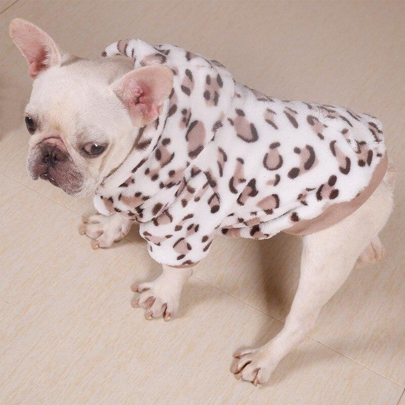 Mascota Otoño Invierno franela ropa para el hogar cachorro leopardo impresión camisa 2 patas engrosamiento ropa de abrigo para cachorro Pug