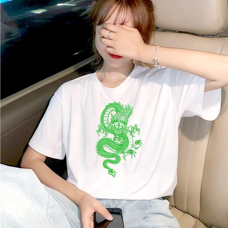 Verano mujeres camisetas Ulzzang Vintage chino dibujo de dragón camiseta Harajuku Tops mujer camiseta de gran tamaño Casual mujer camiseta