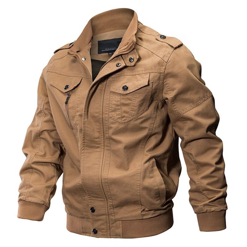 Куртка-бомбер мужская в стиле милитари, хлопковая приталенная куртка-пилот в стиле милитари, армейское сафари, повседневный пиджак-карго, О...