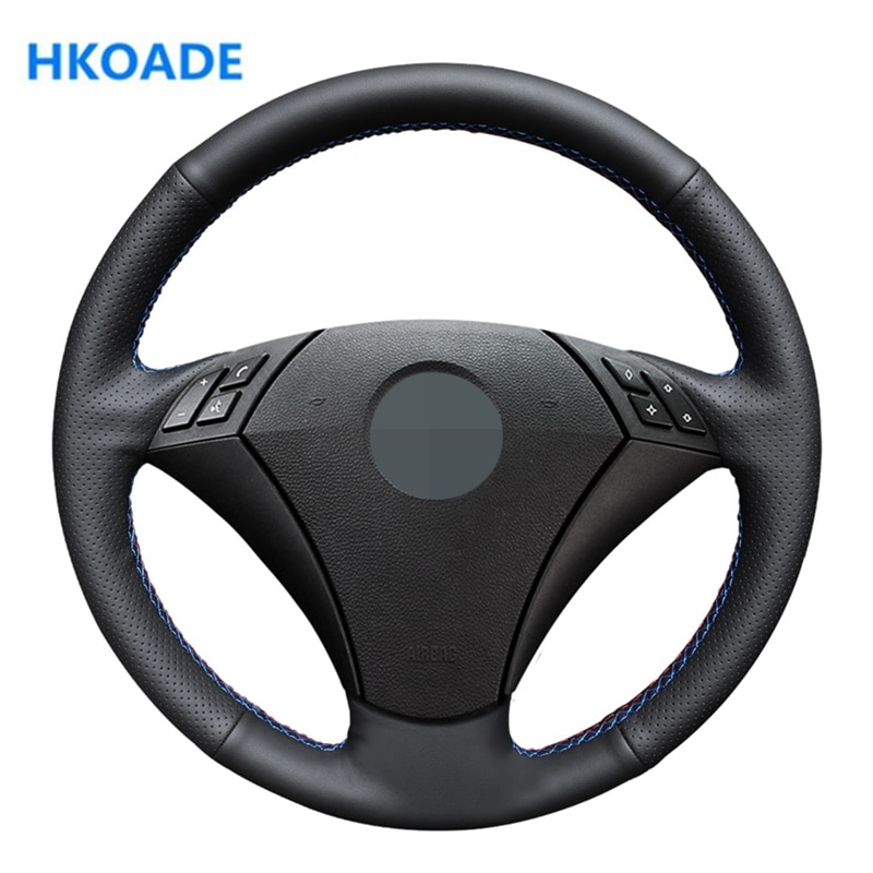 DIY Black PU Artificial Leather Wrap Hand Sewing Car Steering Wheel Cover for BMW E60 (Sedan) 530d 2003-2009 E61 (Touring) 2004-