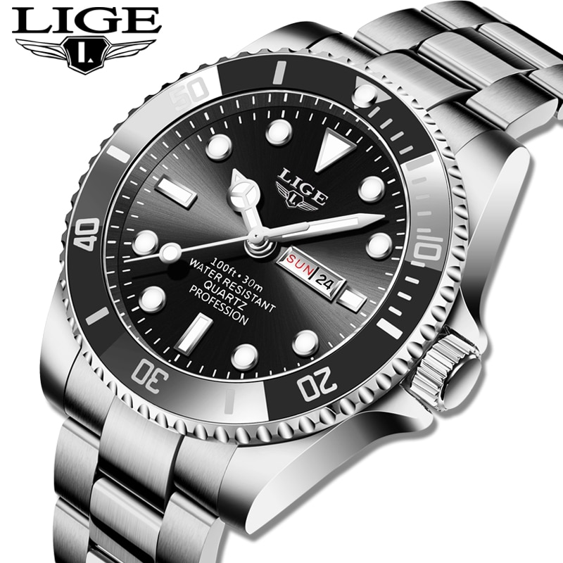 AliExpress - LIGE 2021 New Mens Watches Top Brand Luxury Fashion Business Watch Men's Stainless Steel Waterproof Wristwatch Relogio Masculino