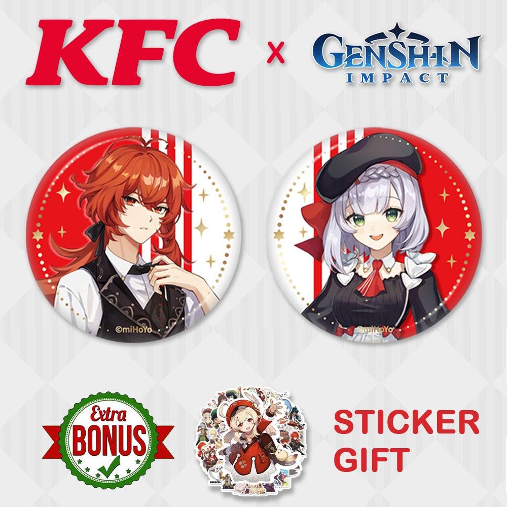 Genshin Impact Badge KFC Noelle Diluc Paimon Zhongli Tartaglia Brooch Cosplay Anime Mona Venti Game Clothes Backpack Decor Gifts