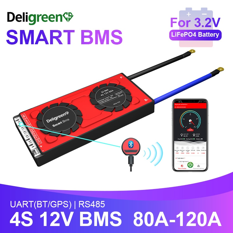 Bluetooth Smart BMS 4S 80A 100A 120A LiFePO4 Battery BMS  for 14.6V Battery pack with Bluetooth CAN communicatio UART RS485