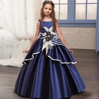 4 14 years embroidery retro evening ankle length kids dresses for girls children costume princess girls wedding dress