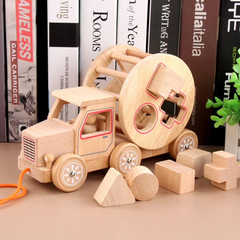Детские деревянные игрушки Монтессори для малышей, Обучающие деревянные трейлеры в форме сопряжения, Обучающие игрушки, детские подарки