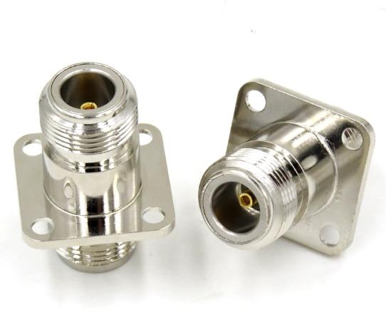 1pc N Female Jack To N Female 4 Hole Flange Panel Mount Plug RF Coaxial Adapters