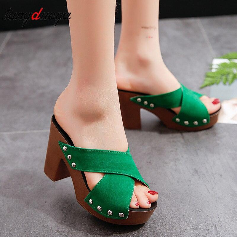 Sandálias femininas plataforma flip flop sapatos de salto cunha sandálias moda sólida feminina cruz cinta chunky calcanhar chinelos sandálias