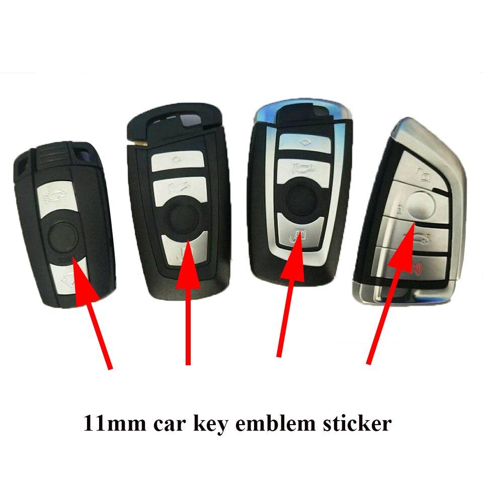 5 unidades, 11mm de diámetro, logotipo de la llave del coche, insignia de la llave remota del coche de metal, etiqueta de la insignia de la llave del coche de 11mm