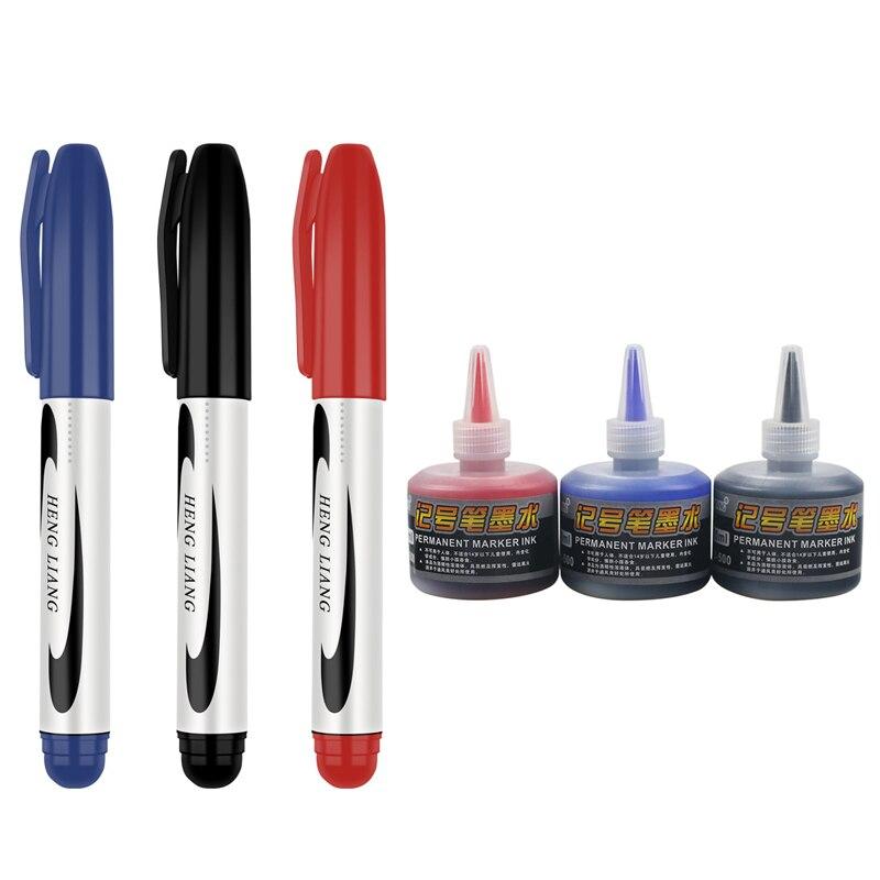 3-6-pz-set-25mm-punta-pennarello-permanente-nero-rosso-blu-inchiostro-art-marker-pennino-grezzo-studente-scuola-e-cancelleria-per-ufficio-kissbuty