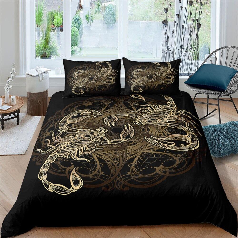 الملك الحجم المنسوجات المنزلية الملونة طقم سرير العقرب طقم ملائات سرير مطبوع طقم سرير ثلاثية الأبعاد نمط الزخرفية المعزي