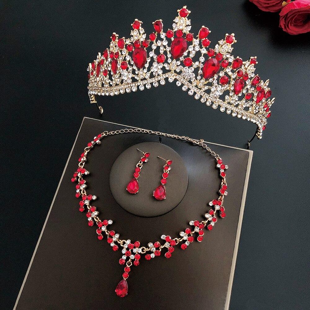 Великолепные винтажные золотые красные кристаллы, Свадебные Ювелирные наборы, модные диадемы, серьги, ожерелья, набор для женщин, свадебное платье, комплект ювелирных изделий