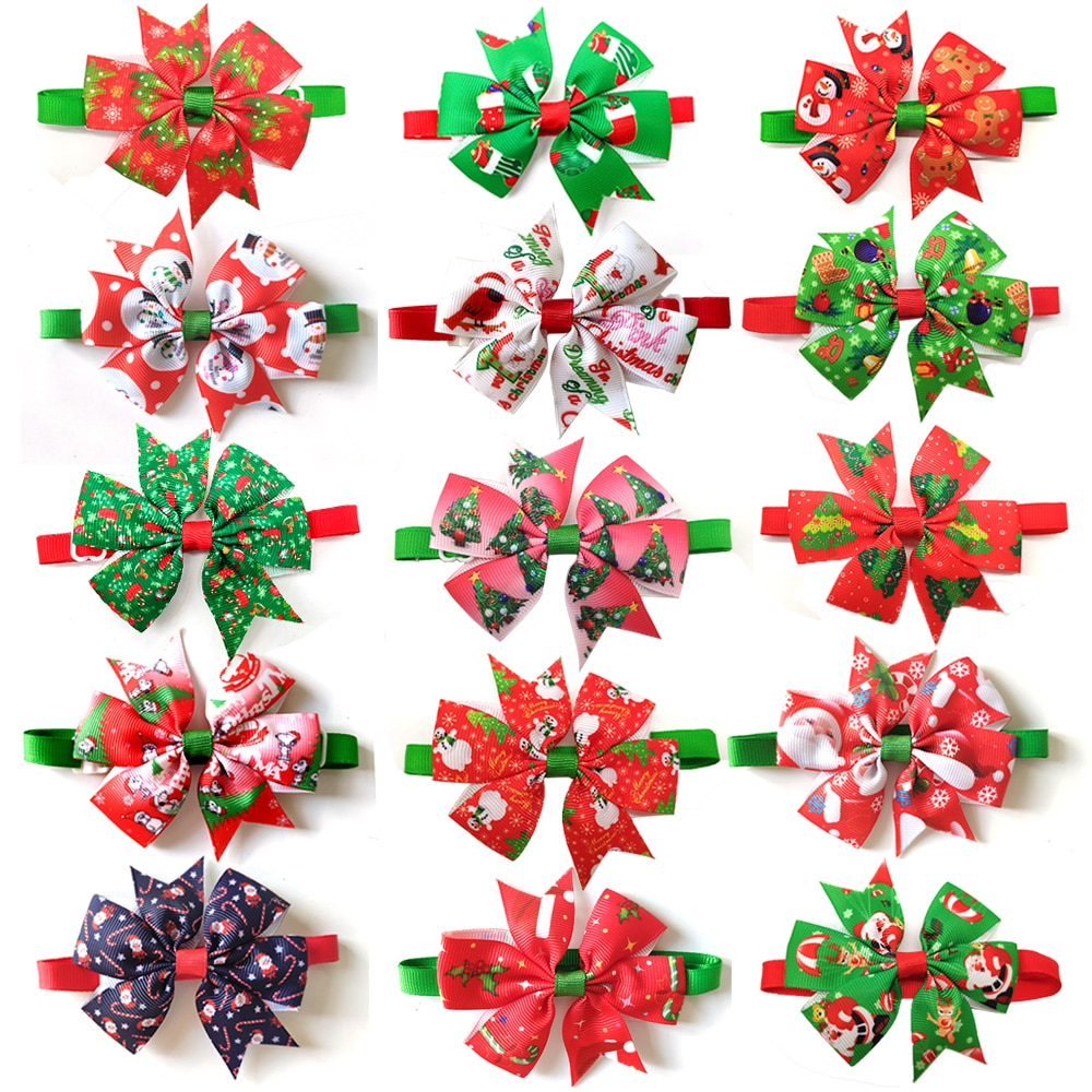50pcs Cats Dog Christmas Bow Tie Pet Dogs Bowtie Collar Holiday Decoration Acciessories Christmas Gr