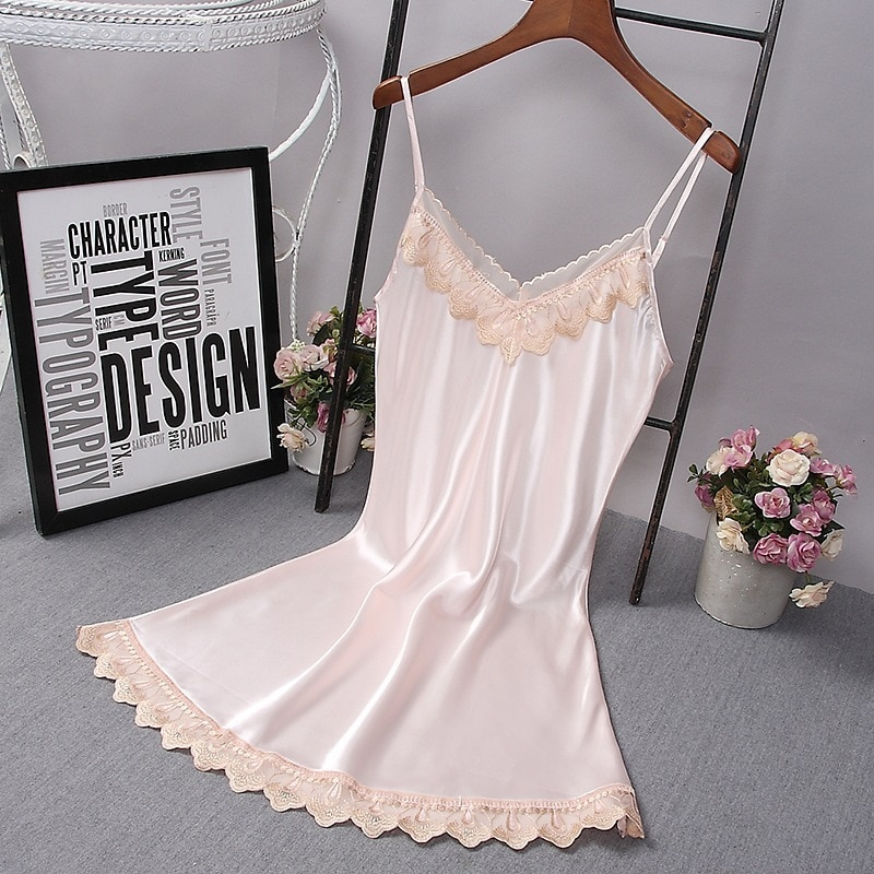 Women's sexy Nightgowns sleeveless night Sleep clothes dress nightgown summer Loose Lounge Ladies Ad