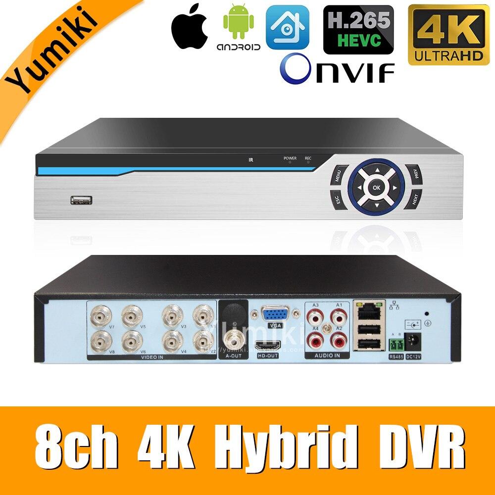 H.265 +/H.264 8ch AHD DVR 4K CCTV 8Ch 4 K/5MP Hybrid Sicherheit DVR Recorder Kamera onvif Koxiale Control P2P XVI/AHD/TVI/CVI/CVBS/IP