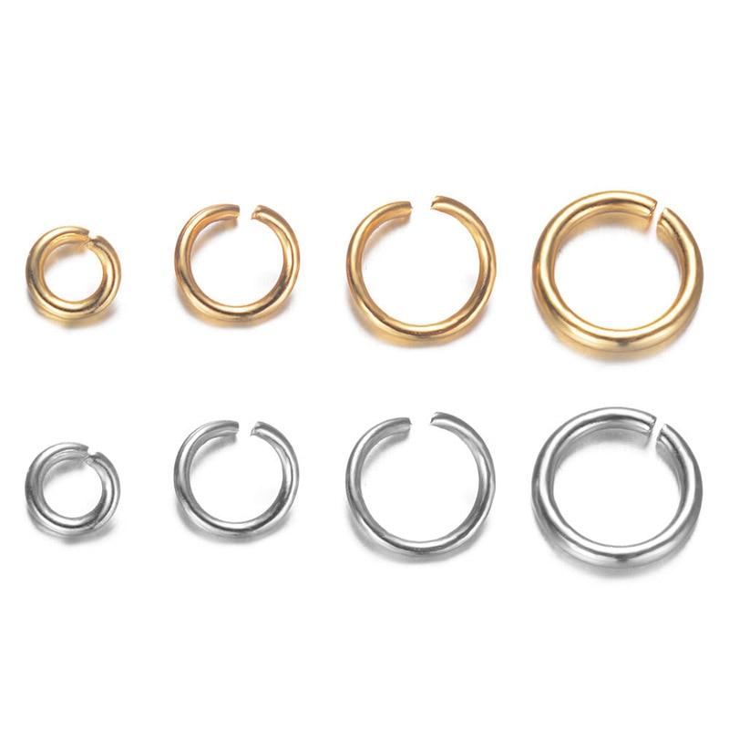 Lote de 100 unids/lote de anillos abiertos de acero inoxidable 316L, anillos abiertos de 4mm, 5mm, 6mm, 7mm, anillos divididos de Color dorado/acero, accesorios de joyería fina DIY