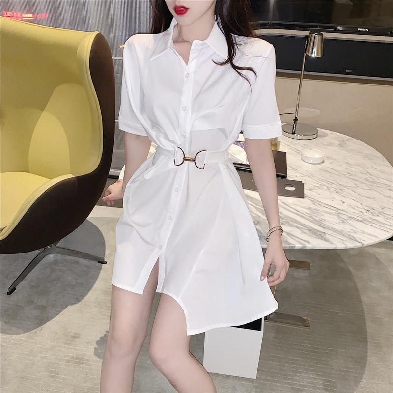 Hong kong estilo design sentido nicho francês cintura apertada elegante fino irregular manga curta camisa branca vestido para as mulheres verão