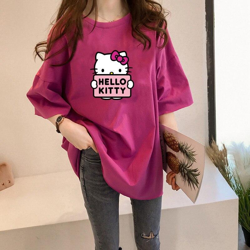 Hello Kitty 2020, camiseta Harajuku Ullzang Donald para mujer, camiseta de verano, camiseta de moda, camiseta femenina