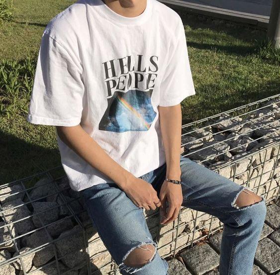 Hombres Tumblr Grunge Tee Hell Is People Arco Iris imprimir citas gráfico camiseta Harajuku moda camiseta ropa de calle traje fresco