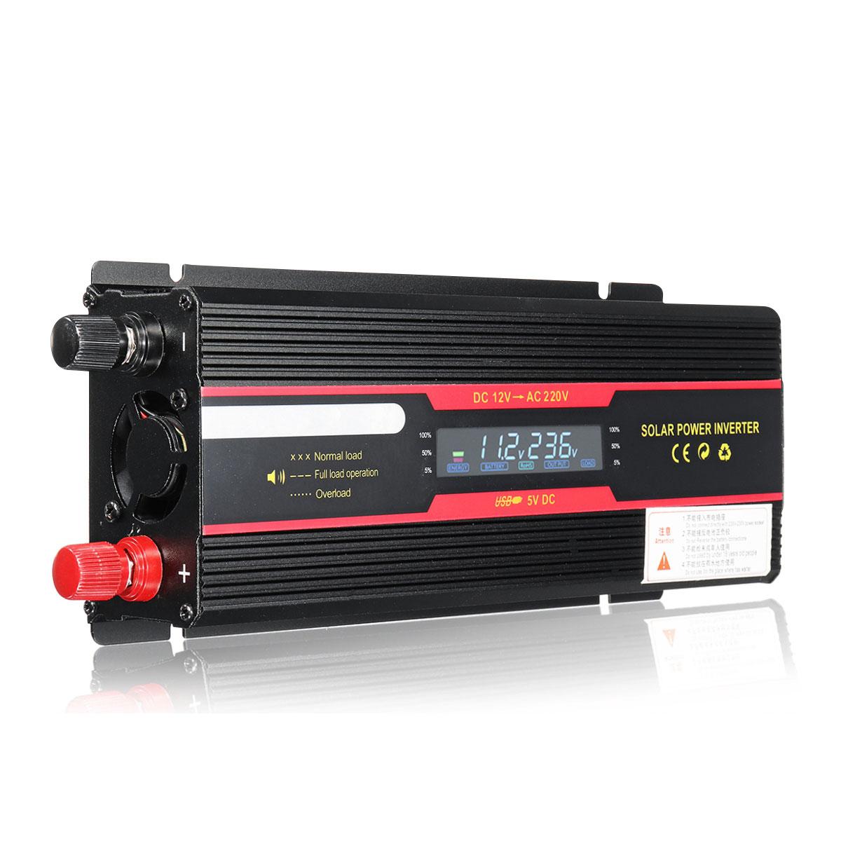 عاكس السيارة 12 فولت ، 220 فولت ، 6000 واط ، شاشة LCD ، محول موجة جيبية معدل 12/ 24 فولت تيار مستمر إلى تيار متردد 110 فولت/220 فولت