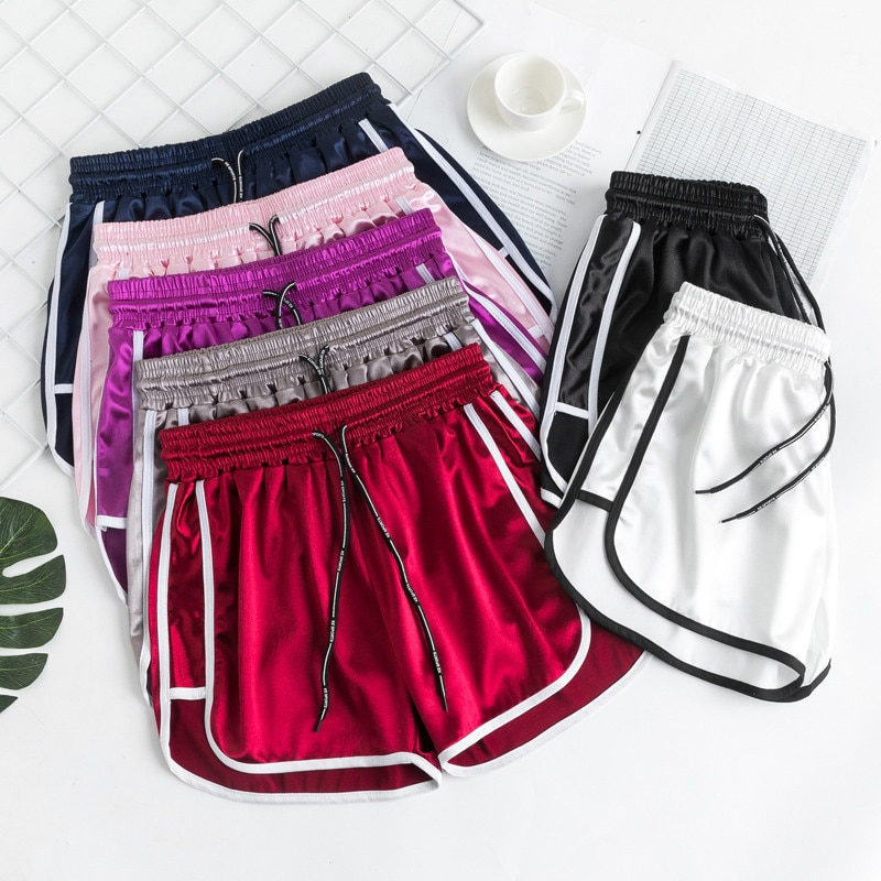 Calções de desporto para mujer 2020 novo verão coréia-estilo casual casa dormir calças tamanho grande cintura elástica nosso usar calções de perna larga