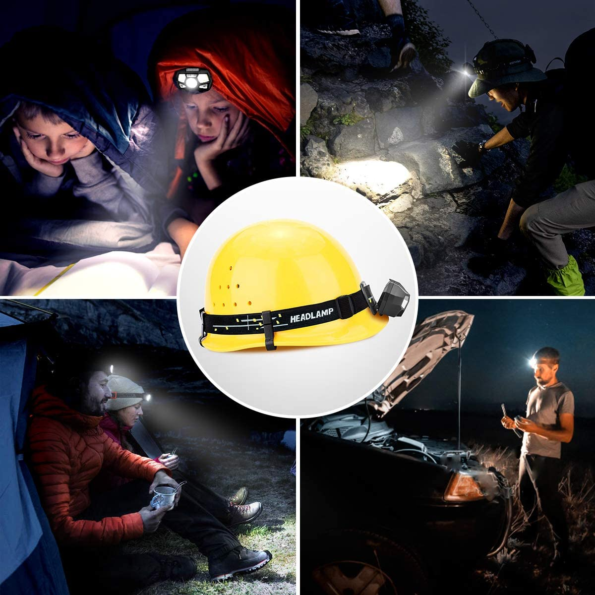 Induction Headlight Body Motion Sensor Headlamp USB Rechargeable Head Front Light Waterproof Head Lamp with Built-in Battery enlarge