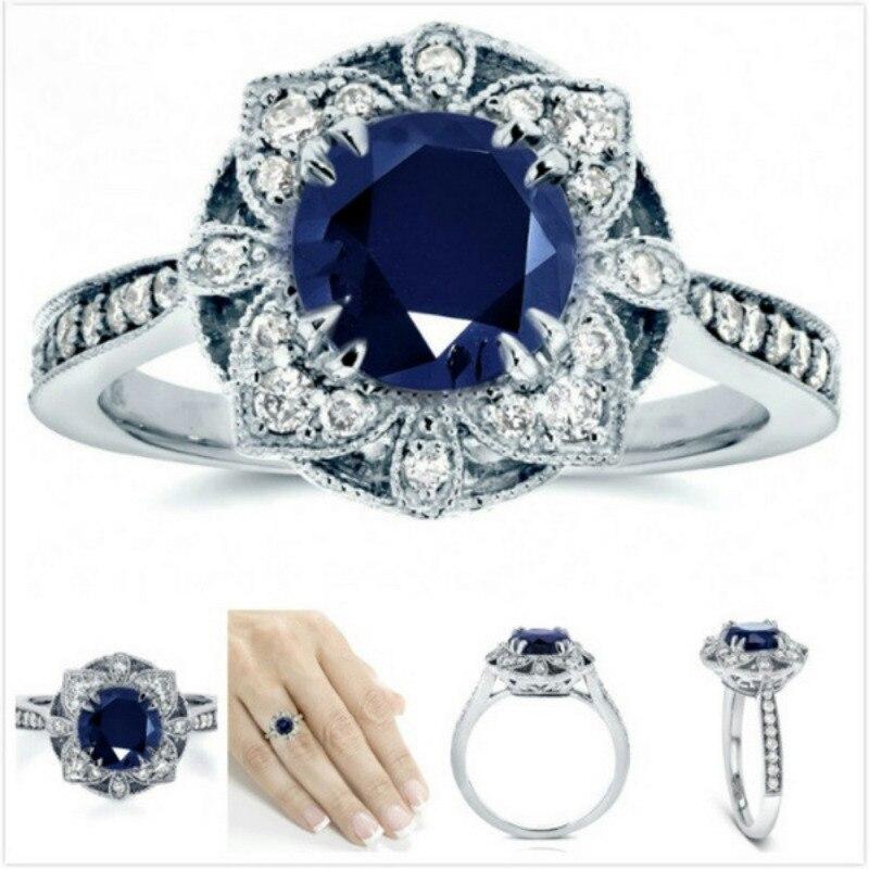 Anillo de topacio de zafiro de Color plata esterlina 925 para mujer, Anillos de lujo, piedras preciosas de boda redondas, Topacio Azul S925, anillo de joyería fina