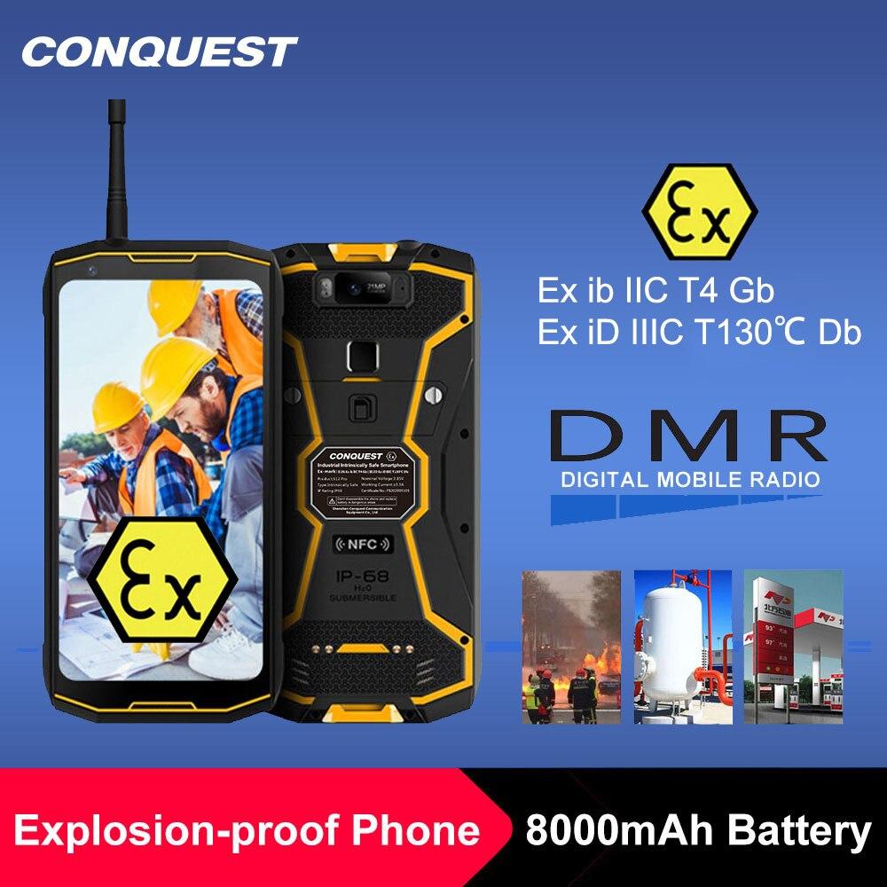 """Перейти на Алиэкспресс и купить CONQUEST S12 Pro ATEX безопасный телефон Безопасность усовершенствованная, от взрыва, IP68 4G иди и болтай Walkie Talkie """"иди и ATEX мобильный телефон Android смарт..."""