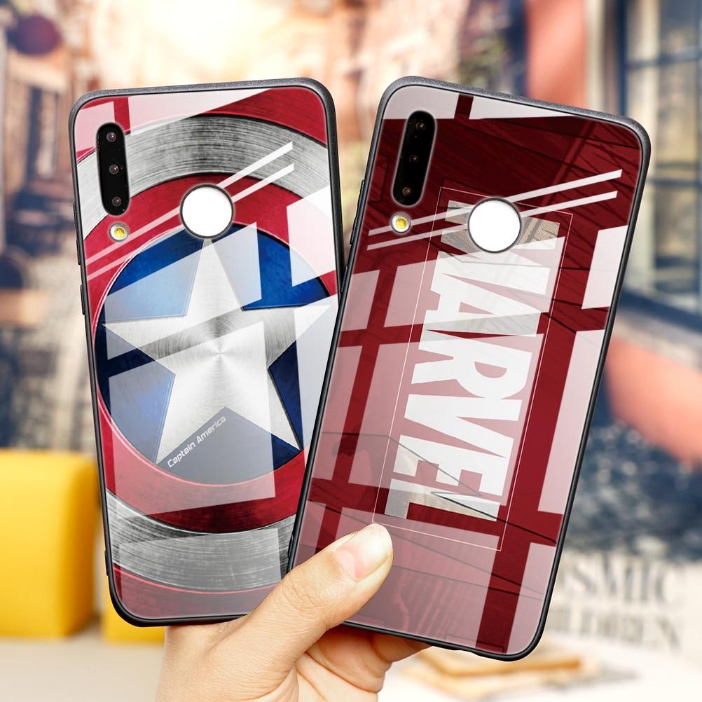 Роскошный чехол из закаленного стекла Marvel Avengers для Huawei P40 Pro P30 P20 Mate 20 30 Lite Honor 20 Pro 8X P Smart Y6 Y9 2019