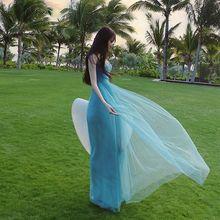 2021 Summer Dress New Super Fairy Sweet Slimming Mesh Dress Seaside Beach Skirt Formal Dress