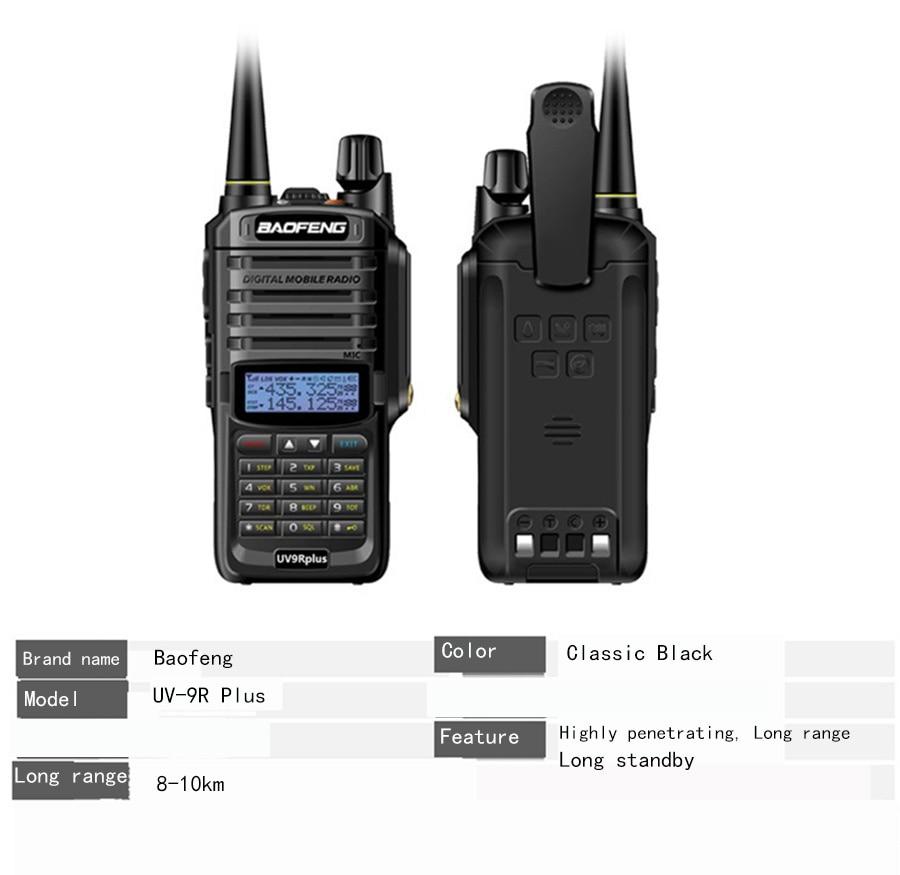 2021 uv9r plus Waterproof walkie talkie 10w baofeng uv 9r pluswith 4800mah two way radio comunicador uhf vhf cb ham radio px fm enlarge