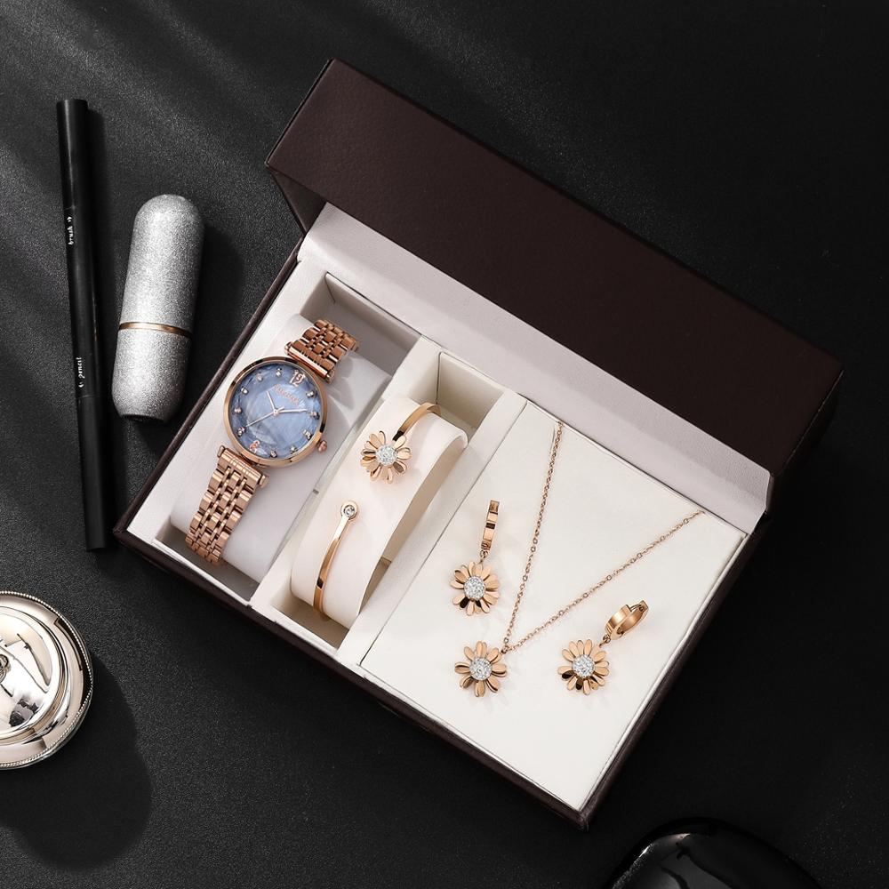 4PCS Women luxury quartz watches gift box set high quality fashion stainless steel 100% band waterproof 30m with jewerly set hot enlarge
