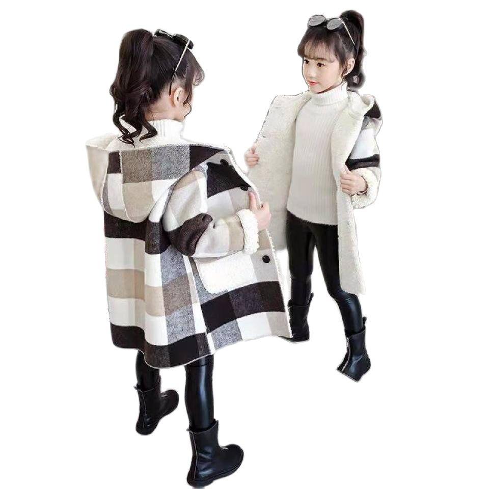 خريف شتاء 2020 بنات سترات رجالي ملابس خارجية بقلنسوة دافئة موضة معطف صوفي طويل ملابس الأطفال ملابس الفتيات تيانج 9