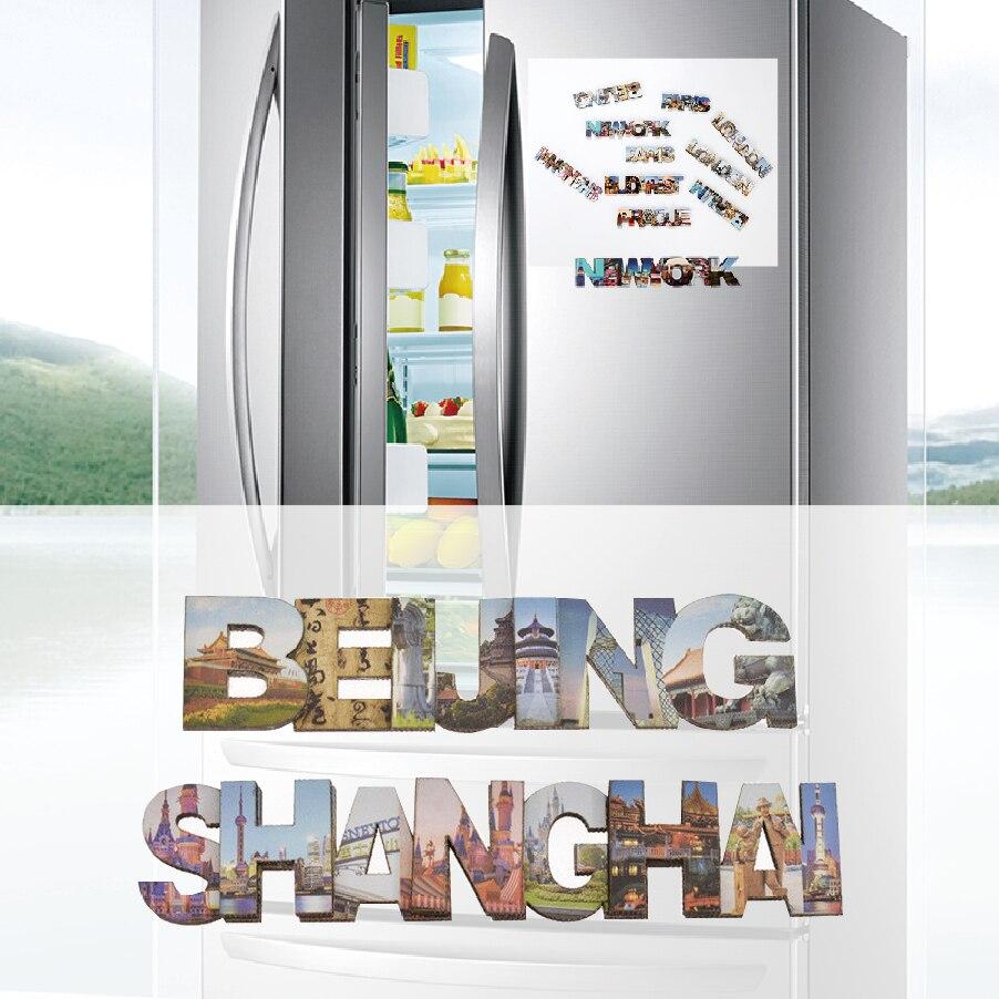 Imán magnético 3d de madera de doble capa para nevera, recuerdos turísticos de BeiJing,ShangHai, imanes de nevera, decoración del hogar