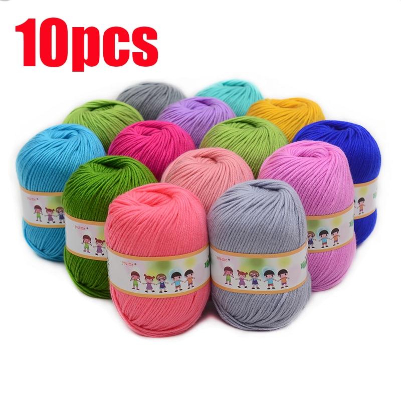 10pcs Hot Sale Multi Color Cotton Silk Knitting Yarn Soft Warm Baby Yarn for Hand Knitting Supplies 500g/lot